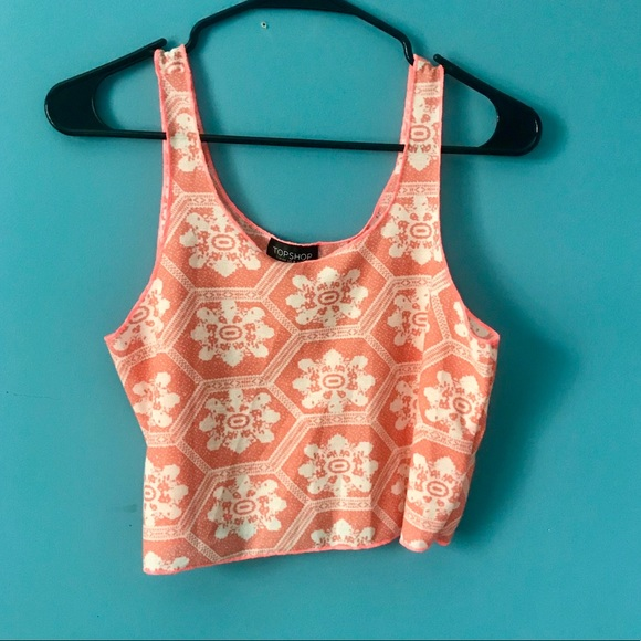 8360d8e97899c4 Topshop Tops | Cropped Printed Tank Top Size 8 | Poshmark